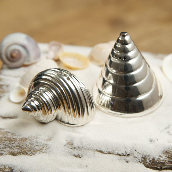 Солонка и перечница Culinary Concepts «Ракушка» серебряная