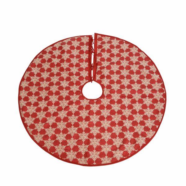 Юбка для новогодней ели «Снежинки» красная