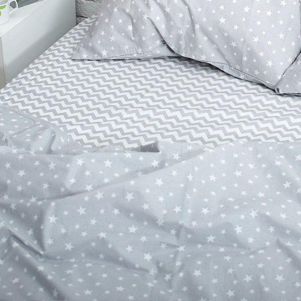 Постельное белье из хлопка (полуторное) зигзаг/звёзды на сером
