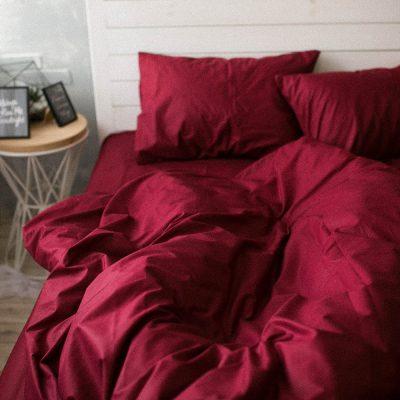 Постельное белье (двуспальное) 180x225 см, бордо
