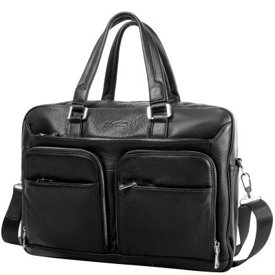 Кожаная мужская сумка с карманом для ноутбука VITO TORELLI black