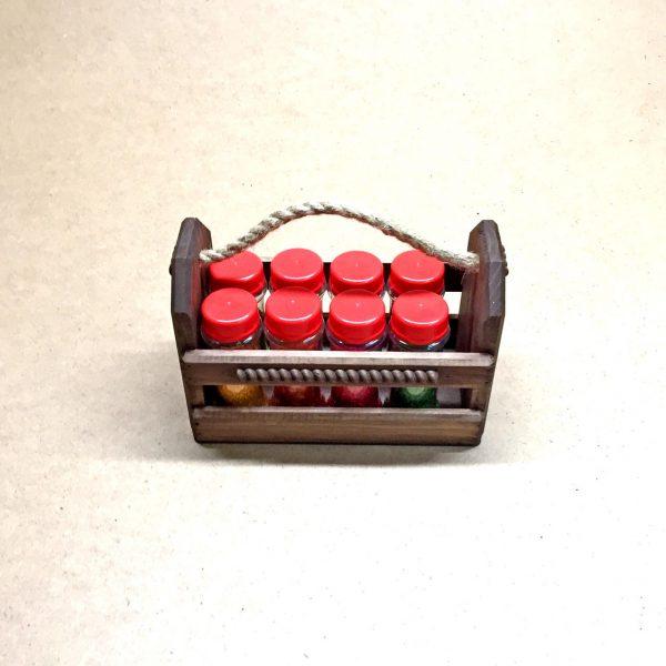 Органайзер для специй «Баффало 8» капучино с баночками для специй