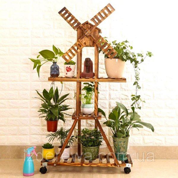 Подставка для цветов «Антони» на колёсиках капучино