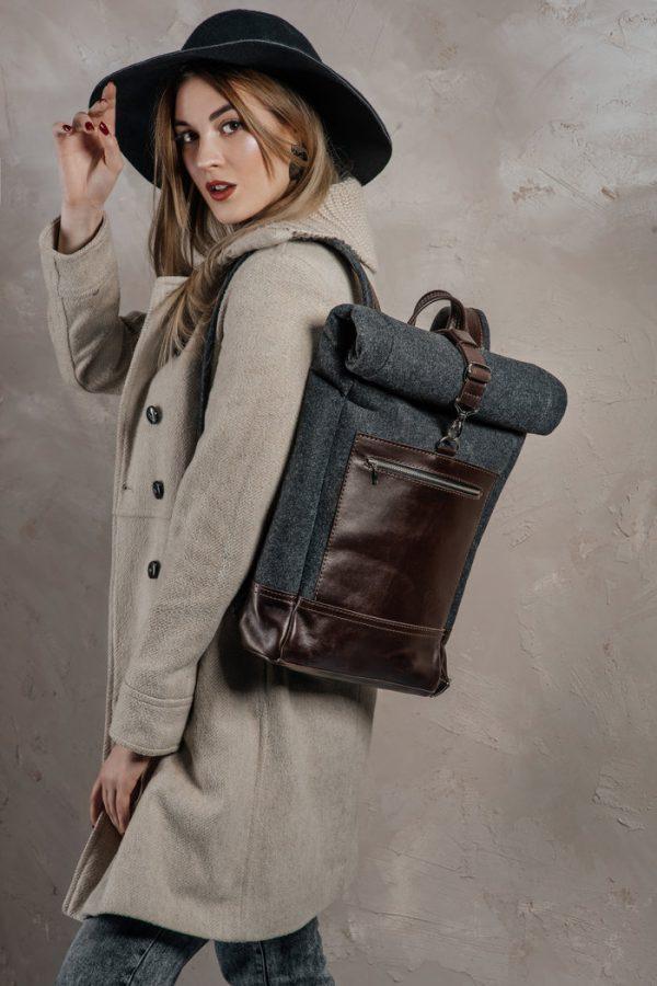 Рюкзак из войлока и кожи «Woolion»