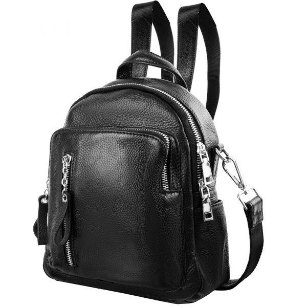 Сумка-рюкзак женская кожаная VITO TORELLI black-1