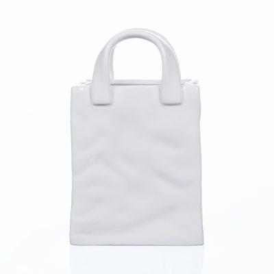 Ваза фарфоровая «Бэг с ручками» белая