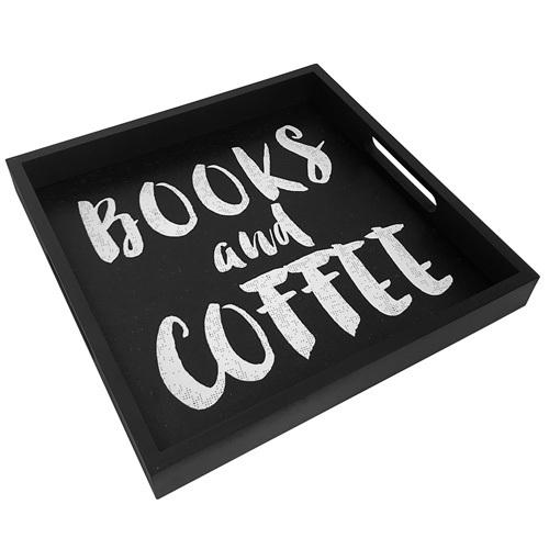 Поднос из дерева «Books and coffee»