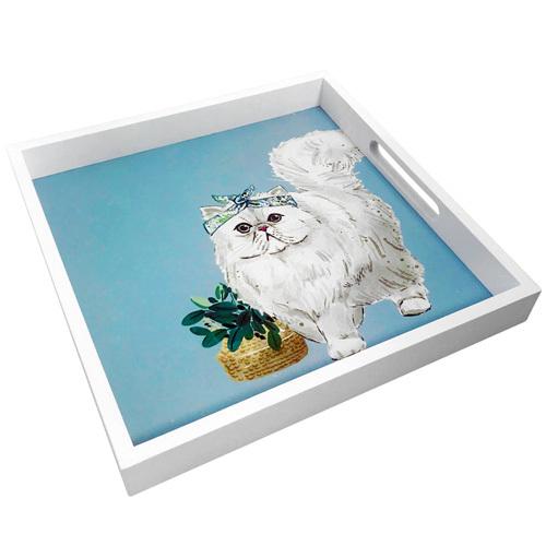 Поднос из дерева «Белая кошка»