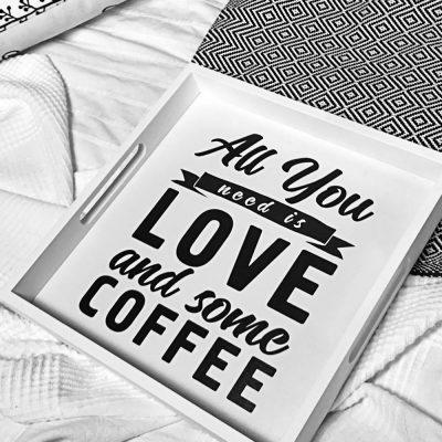 Поднос из дерева «All you need love and some coffee»