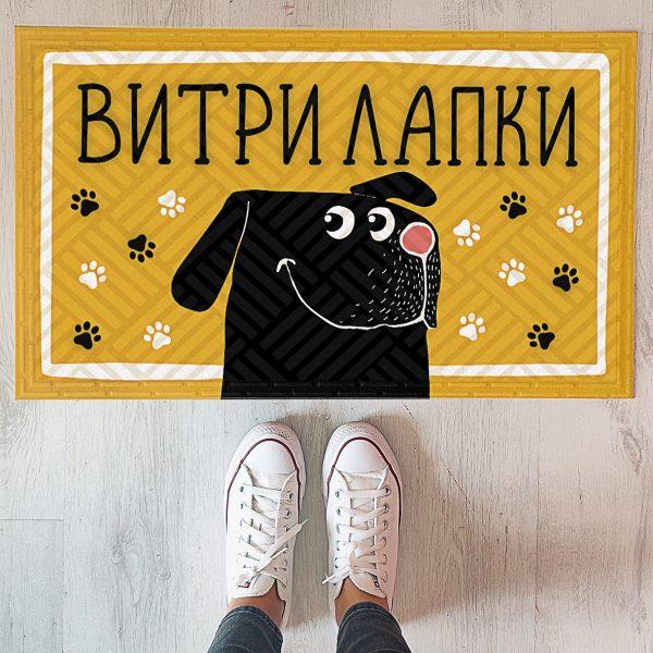 Коврик придверный с принтом «Витри лапки! (собака)»