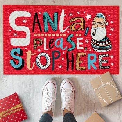 Коврик придверный с принтом «Santa, please stop here»