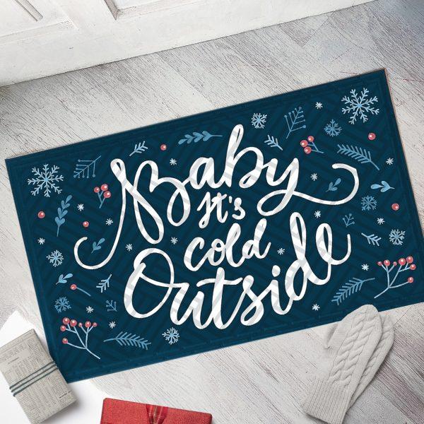 Коврик придверный с принтом «Baby, it's cold outside»