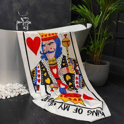 Полотенце большое с принтом «King of my heart»