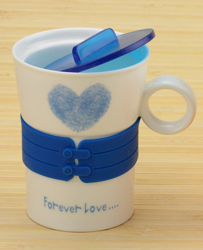 Чашка с сердечком Forever Love (синяя)