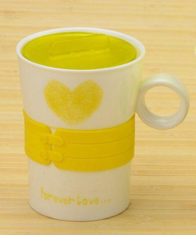 Чашка с сердечком Forever Love (желтая)