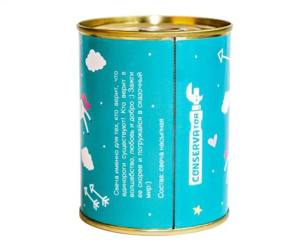 Консерва-свеча «Unicorn love» голубой