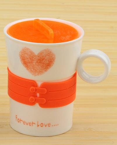 Чашка с сердечком Forever Love (оранжевая)