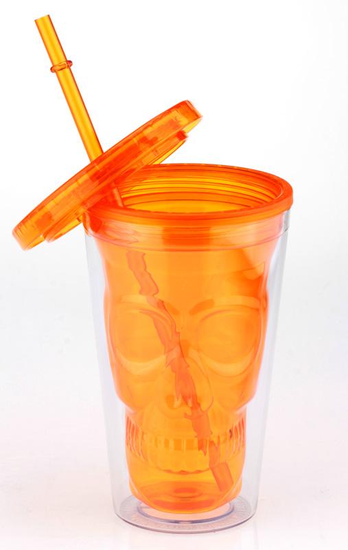 Стакан с соломкой «Череп» (оранжевый)
