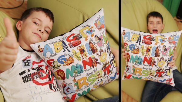 Подушка с принтом 40х40 см «Английский алфавит» Мальчики