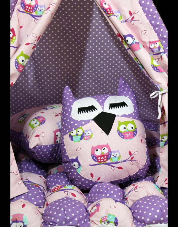 Вигвам Хатка комплект бонбон «Совы» фиолетовый