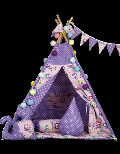 Вигвам Хатка комплект «Фиолетовые совы» с подушками