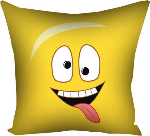 Подушка с принтом 40х40 см «Смайл с языком»
