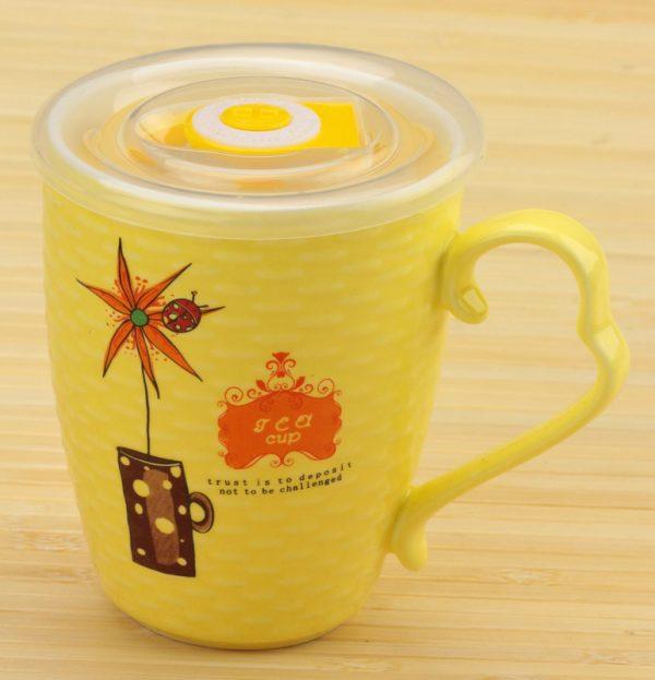 Чашка заварочная «Цветок с таймером» (желтая)