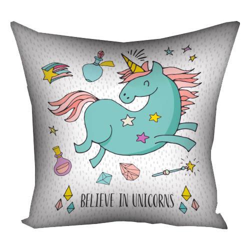 Подушка с принтом 40х40 см «Believe in Unicorns» Единорог