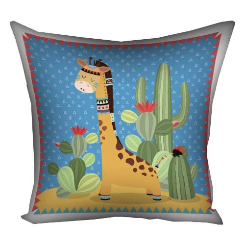 Подушка с принтом 40х40 см «Жираф индеец»
