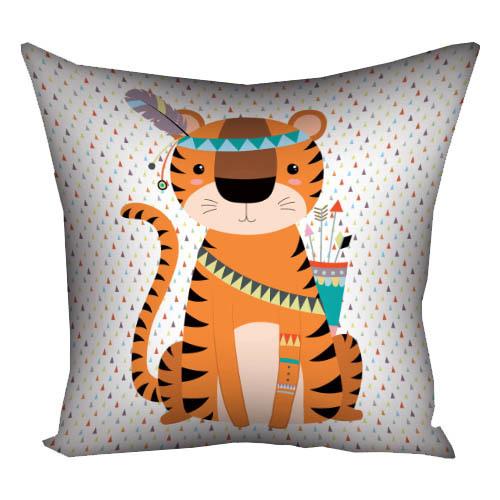 Подушка с принтом 40х40 см «Тигр индеец»