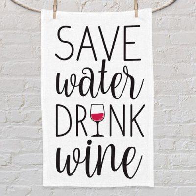 Полотенце маленькое с принтом «Save water drink wine»