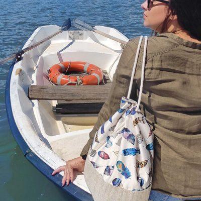 Рюкзак тканевый Summer «Разноцветные перья»