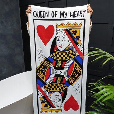 Полотенце большое с принтом «Queen of my heart»