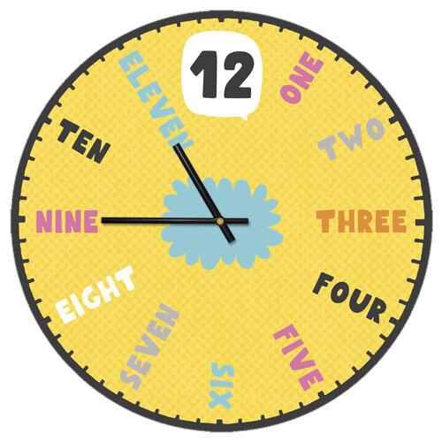 Часы настенные Цифры на английском