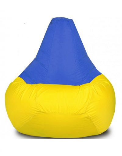 Кресло-груша большая, желто-синяя
