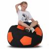 Кресло-мяч средний, черный с оранжевым