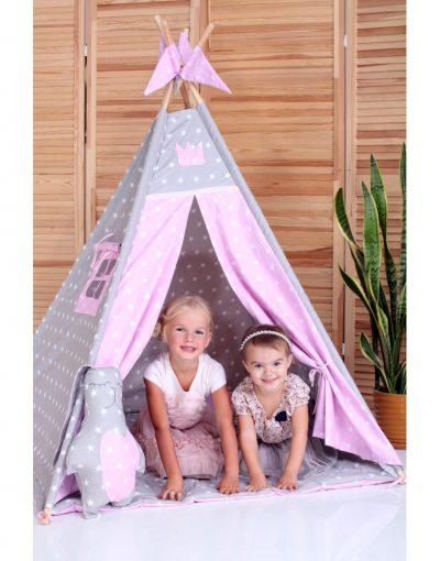 Вигвам Хатка комплект «Принцесса» розовый с серым