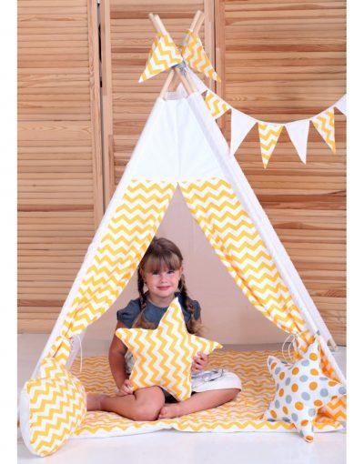 Вигвам Хатка комплект «Желтый зигзаг» с подушкой