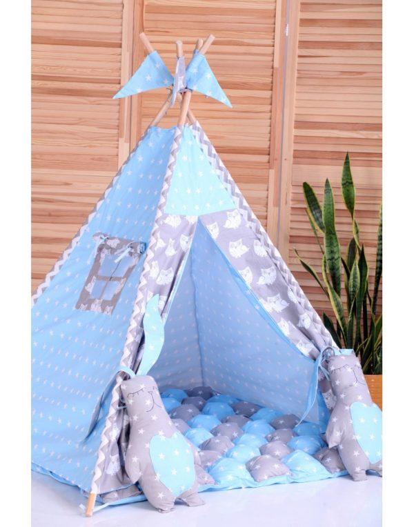 Вигвам Хатка комплект бонбон «Ноченька» голубой с серым с подушками
