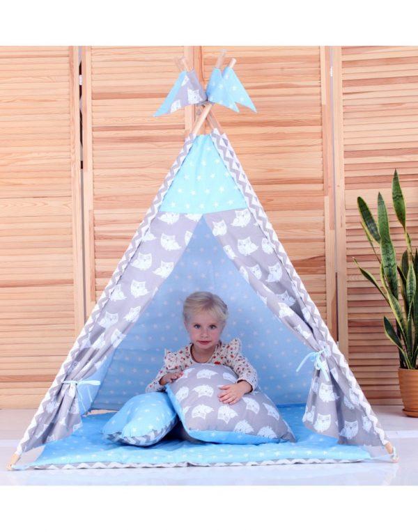Вигвам Хатка комплект  «Ноченька» голубой с серым с подушками