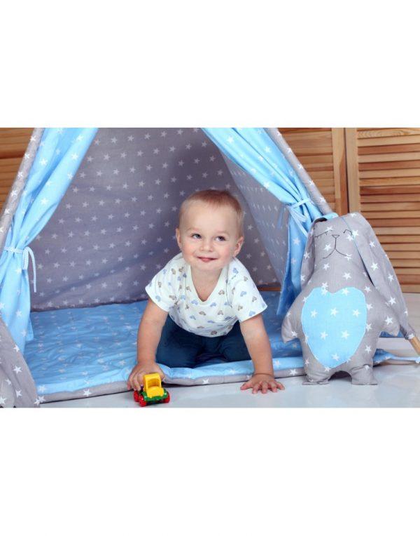 Вигвам Хатка комплект  «Принц» синий с серым с подушками