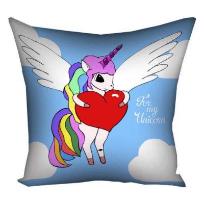 Подушка с принтом 40х40 см «For my unicorn»