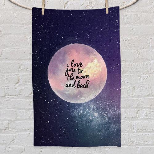 Полотенце маленькое с принтом «I love you to the moon and back»