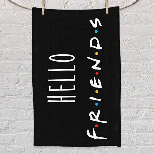 Полотенце маленькое с принтом «Hello friends»