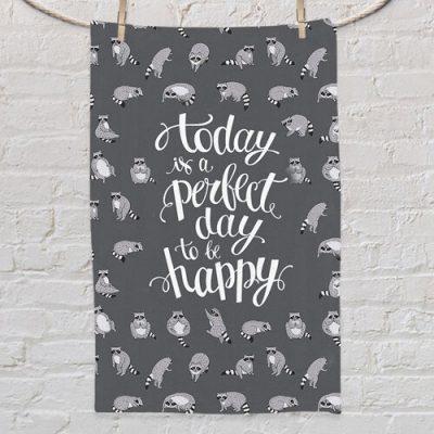 Полотенце маленькое с принтом «Today is a perfect day to be happy»