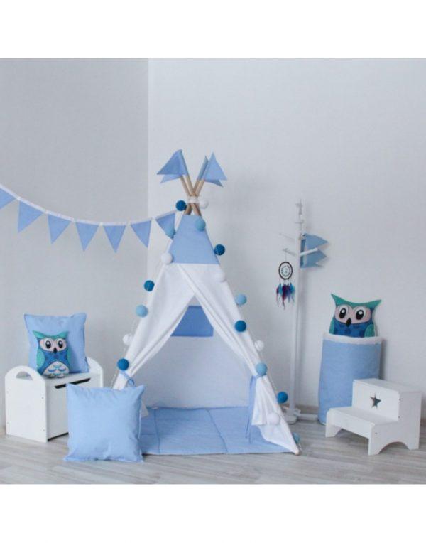 Вигвам Хатка комплект «Закат» белый с синим с подушкой