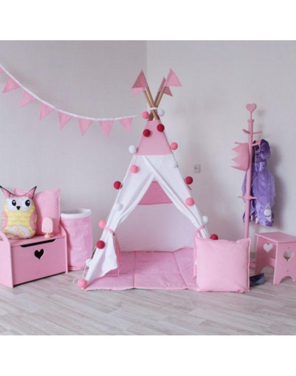 Вигвам Хатка комплект «Рассвет» белый с розовым с подушкой