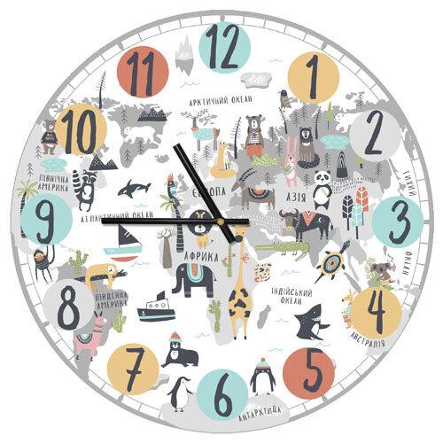 Часы настенные Детская географическая карта