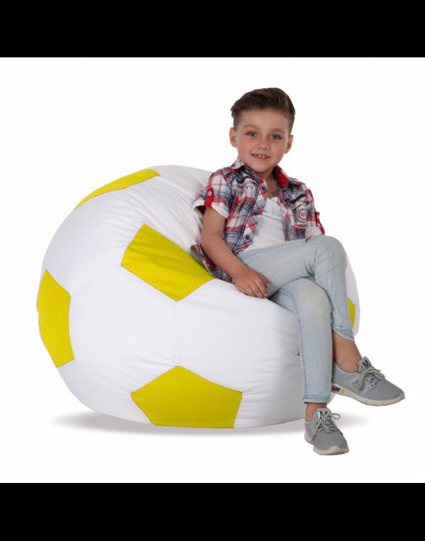 Кресло-мяч детский, белый с желтым