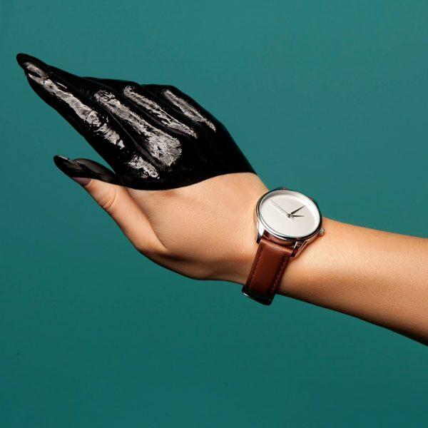Часы наручные «Минимализм» кофейно - шоколадный, серебро